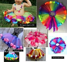 Gonna Tutù Tulle Compleanno Strisce Colorate Bambina Girl Tutu Skirt SKIR004-9B