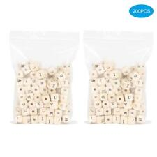 200PCS 10MM Mixed Alphabet Letter Wood Cube Beads Wooden For Jewelry DIY Making