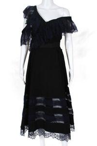 Self-Portrait Womens Off The Shoulder Lace Accent Dress Black Dark Blue Size M