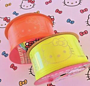 "Hello Kitty Fluorescent Yellow + Orange Offray BRIGHT Satin Ribbon 1-1/2""W 3 Yds"