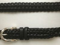 "LCI Brand Genuine Leather Braided 1"" Belt Waist Size 38-40 Black Silver Plate"