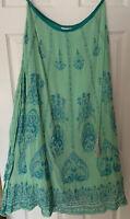 Soft Surroundings Aqua Bohemian Beaded Maxi Skirt Sz M