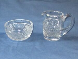 WATERFORD Clear Crystal Giftware Open Sugar Bowl & Creamer Diamond Pattern
