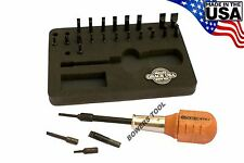 "Grace 24pc Gunsmith Screwdriver Set 1/4"" Spinner Handle Hollow Ground Bits USA"