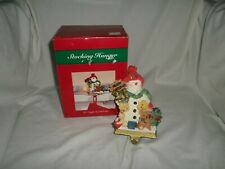 DHC Christmas Stocking Hanger Cast Iron Base Snowman Merry Christmas Toys