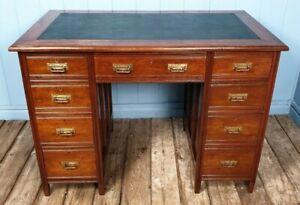 Desk Pedestal Writing Office Rosewood Edwardian Antique 1910 9 Drawers Leather