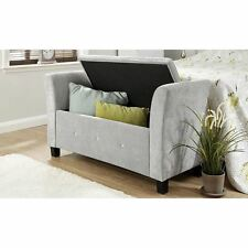 Verona Black Chenille & Diamante Window Seat Bedroom Furniture