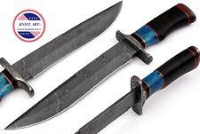 "Custom Handmade Damascus Hunting Knife 15"" Bowie Micarta+Bone Handle MBE855"