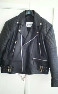 Mens real leather biker jacket L/XL rocker.Biker