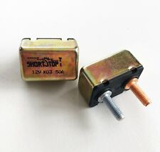x2 Eaton Bussman 12V 50A Short Stop Metal Circuit Breaker Type 1