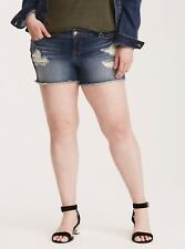TORRID Dark Wash w/ Destruction Skinny Short SHORTS Plus Size 24 NWT $39 LG27