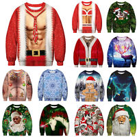Men's Christmas Ugly Sweatshirt Funny Sweater Holiday Pullover Xmas Party Tops