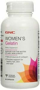 GNC Women's Gelatin, 60 Capsules, Supports Hair, Skin and Nails, Natural...