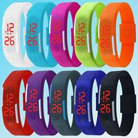 Hombre Mujer Silicona rojo LED Sport Brazalete Táctil Reloj Pulsera Digital
