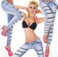 Womens sexy skinny blue denim jeans zips.Washed look Hipster 6 8 10 12 14  Q1696