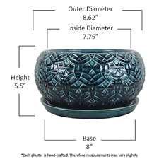 Ceramic Plant Pot Planter With Drainage Holes 10 Inch Blue Rivage Handmade