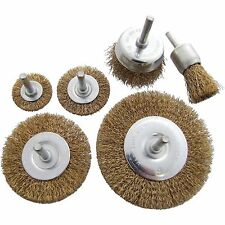 6pc ROTARY WIRE WHEEL SET BRUSH CUP 6mm SHANK RUST PAINT WELD REMOVAL TOOL 3500