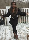 Elegant Designer Swing Russian Sable & dark mink Fur Jacket Coat Stroller M 8-12
