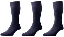 Pantherella Laburnum 3 Pack Ribbed Merino Blend Socks UK 10-12 Large Navy Blue