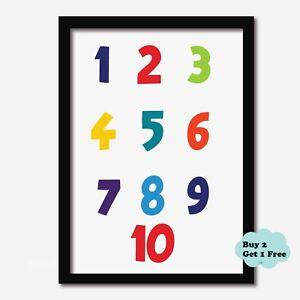 NUMBERS 1 TO 10 PRINT Nursery Learning Kids Wall Boys Girls Bedroom Playroom