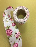 Floral fabric Trim Vintage Rose Poplin tape Wedding Ribbon 50mm craft trimming
