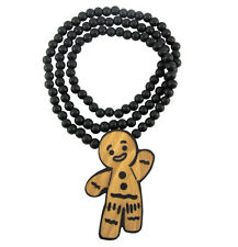 "WOODEN GINGERBREAD PENDANT PIECE w/ 36"" CHAIN NECKLACE BEAD GOOD WOOD STYLE"