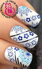 Nail Art Wrap transferencias de agua Stickers Calcomanías decoración conjunto Flor Azul # 137
