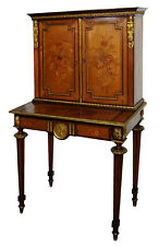 19th C. French Empire Inlaid Writing Desk with Bronze Plaques #7516