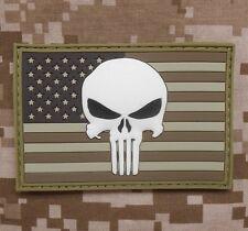 US PUNISHER FLAG RUBBER PVC GLOW SEALS MORALE DESERT VELCRO® BRAND FASTEN PATCH