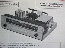 HARMAN KARDON ST-360A MADRIGAL II TUNER PHOTOFACT