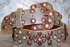 Bronze Copper Studded Leatherock Belt Made with Swarovski Rhinestones Crystal AB