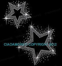 two stars clear rhinestone iron on hotfix transfer bling DIY - BUY 3 GET 1 FREE