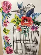 BIRD CAGE wall stickers 5 big decals birdcage flowers room decor kitchen nursery