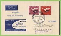 Germany 1955 Lufthansa Flight Cover, Frankfurt to Dusseldorf