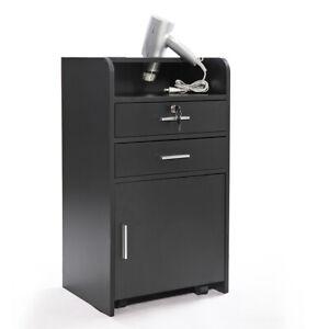 Black 3-layer Beauty Salon Cabinet Trolley Stylist Station w/ Hair Dryer Holder