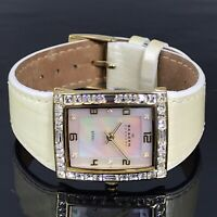 Skagen Womens Watch Mother of Pearl Face Gold Plate Ivory Colored Leather Band