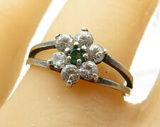 925 Sterling Silver - Vintage Emerald & CZ Pronged Engagement Ring Sz 9 - R4372