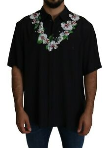 DOLCE & GABBANA Shirt 100% Viscose Black Orchids Casual 44/US17.5/XXL
