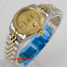 26mm parnis golden dial 21 jewels date miyota automatic Luxurious womens watch