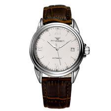 Men Skeleton Automatic Mechanical Wristwatch Waterproof Leather Dress Watch