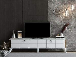 White  TV Cabinet Stand Unit Wooden Media Storage Space Shelves - Lord