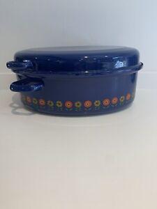 Vintage Retro Enamel Casserole Roasting Chicken Roaster Pot Funky Orange Flowers