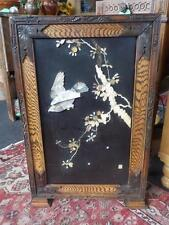 Antique Signed Shibayama Japanese Wooden Framed Panel With Mother Of Peal Bird