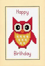 "Happy Birthday - Red Cartoon Owl, Cross Stitch A6 Card Kit 4"" x 6"" - 14 Count"