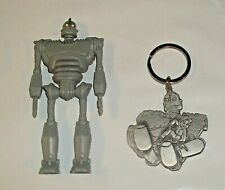 """The Iron Giant 4.25"""" Action Figure & Pewter Rare Keychain W.B 1999"""