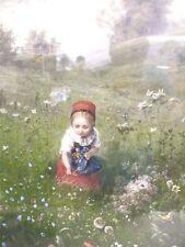LUDWIG KNAUS Lithographie 1868 Mädchen auf dem Feld