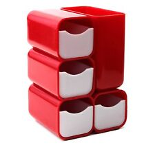 Vintage 1970's HOF Plastic Desk Caddy 4 Drawer Organizer Red and White #7412 EUC