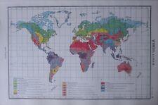 1952 MAP ~ WORLD CLIMATE SUN POLAR HUMID TEMPERATURE WET TROPICAL MOUNTAIN