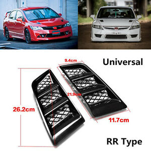 Black RR Type Car Hood Vents Scoop Bonnet Air Vents Air Flow Vent Duct Universal
