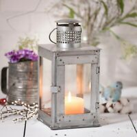 Rustic Square Springhouse Lantern Tin Candle Holder With Glass Chamber & Chimney
